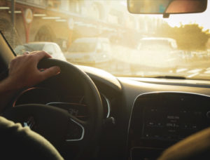 Image of person being calm while driving.