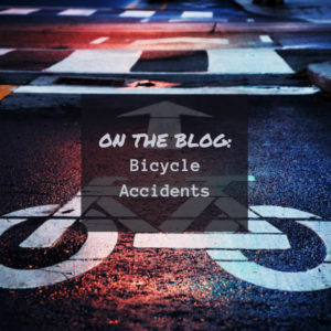 Image of bike lane in street and Bicycle Accidents Poster