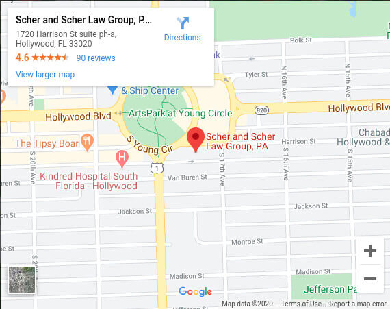 Map Image of Scher and Scher Injury Law Firm Hollywood Fl